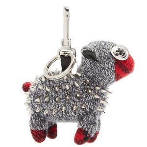 Burberry Wendy Studded Sheep Cashmere Keychain Bag
